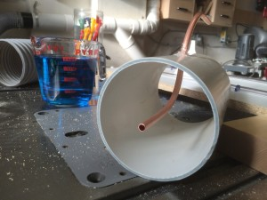 The inside of the test pipe showing the pitot tube